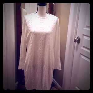 White lace bell sleeve dress